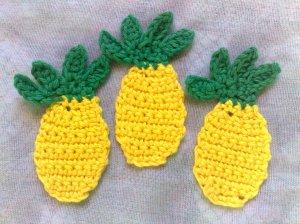 Ananas gehäkelt Applikation zitronengelb, falsche Lebensmittel Früchte